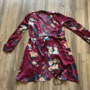 Lulu's floral long sleeve midi dress